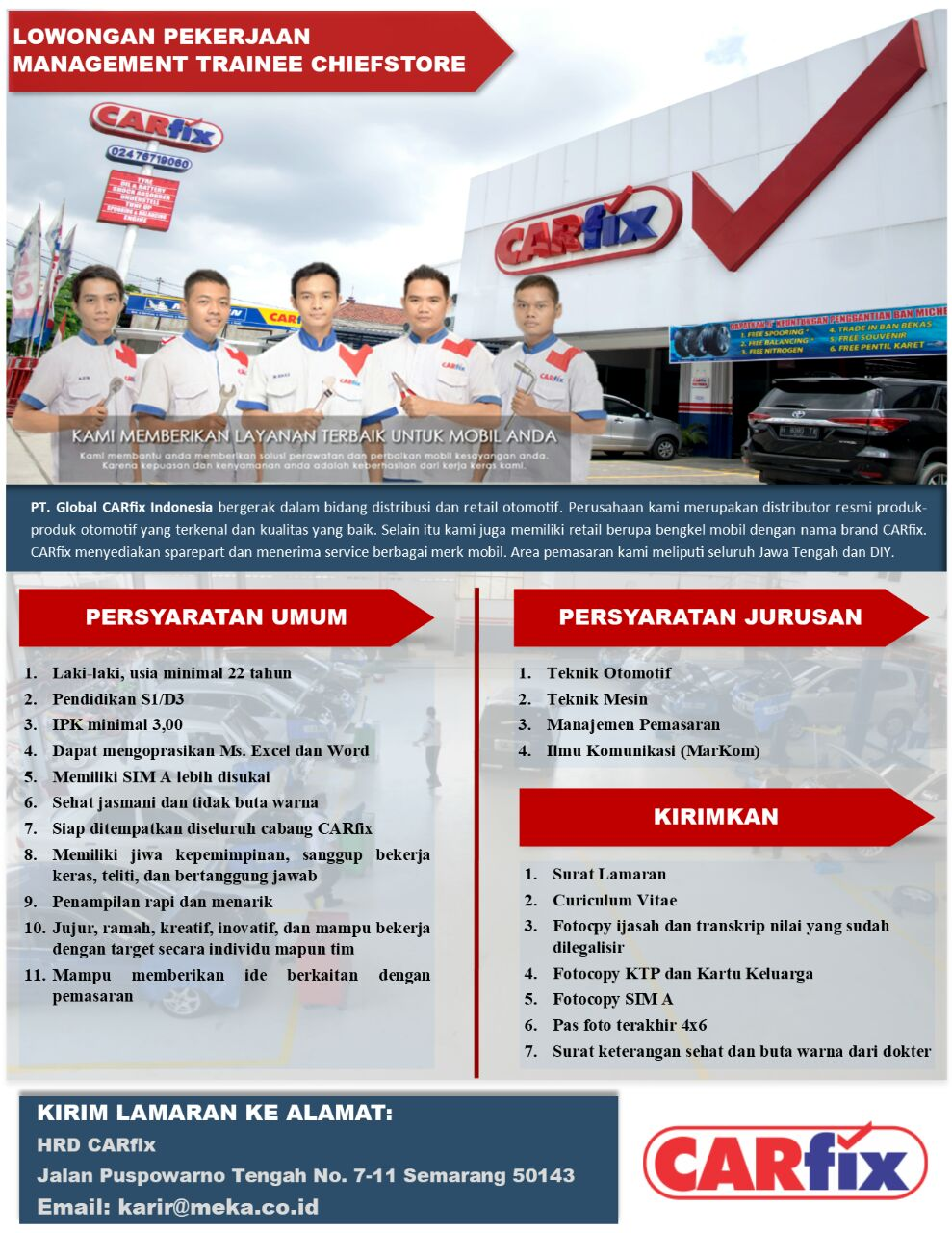 PT. Global Carfix Indonesia Membuka Lowongan MT